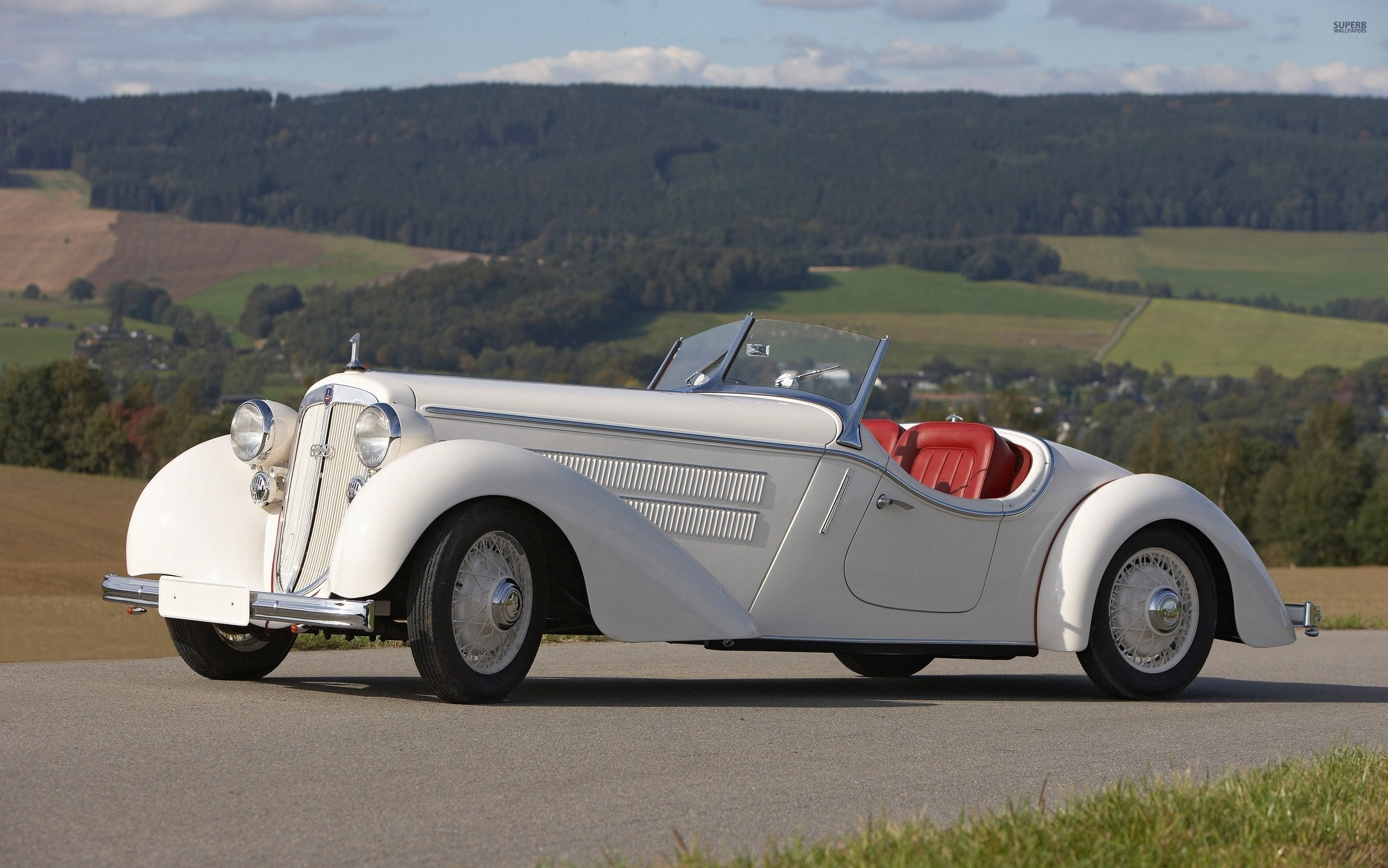 1935 White Audi Front 225 Roadster wallpapers HD quality