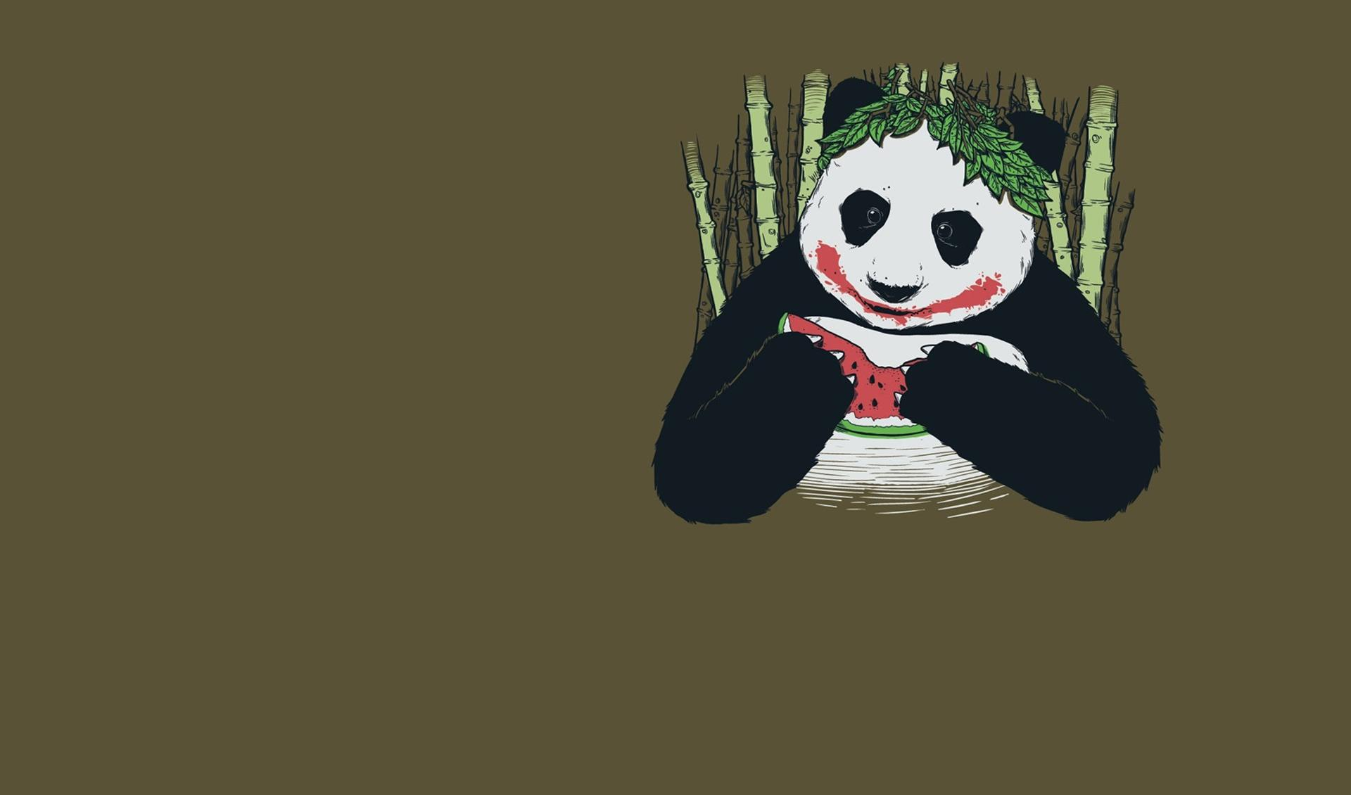 Panda eating watermelon wallpapers HD quality
