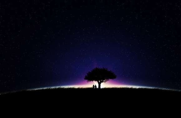 Couple under a tree on a glowing field wallpapers hd quality