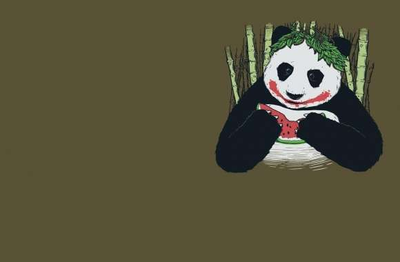 Panda eating watermelon