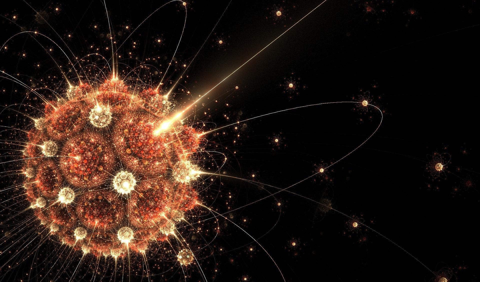 Atoms circling the bright sun wallpapers HD quality