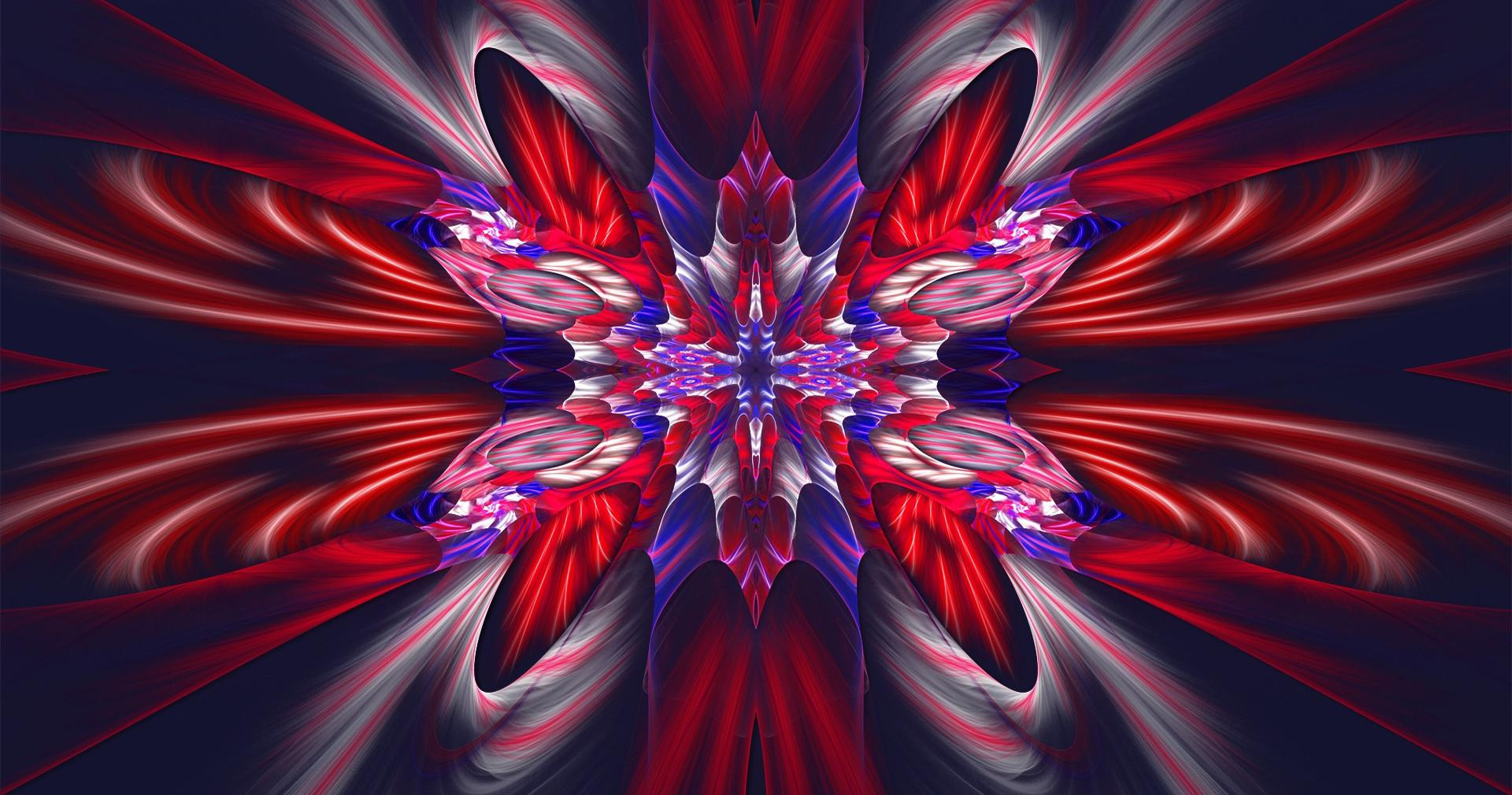 Beautiful red and blue fractal wallpapers HD quality