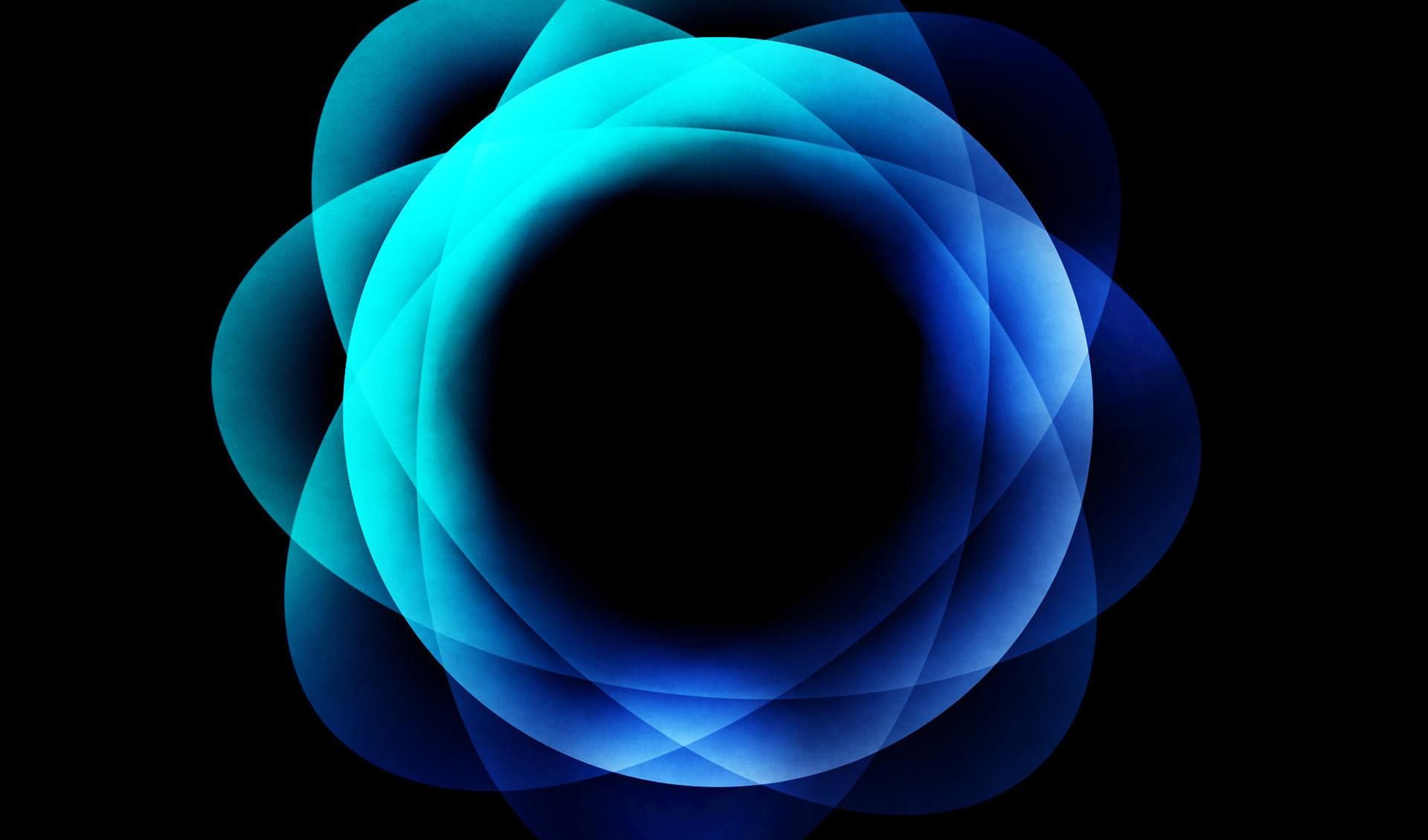 Blue glowing circles piled up wallpapers HD quality