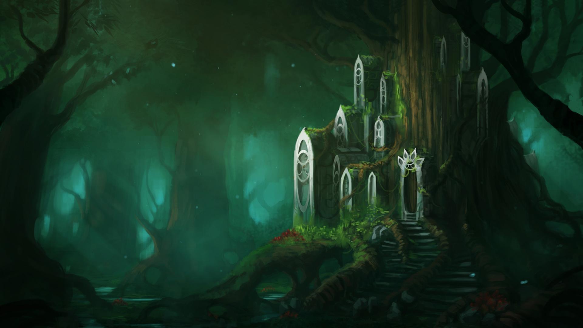 лес темный графика фэнтези подборки