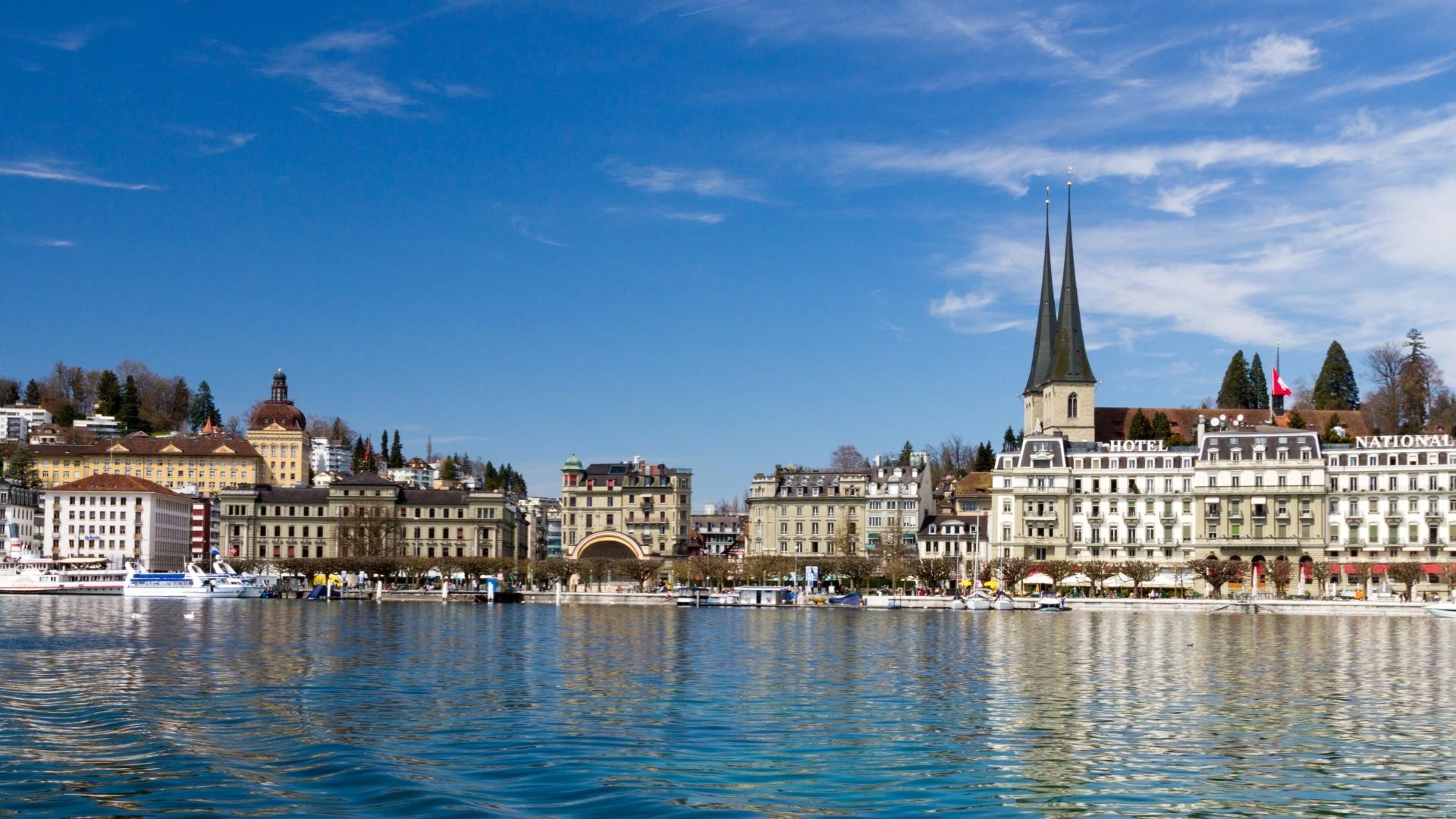 страны город река Люцерна Швейцария загрузить