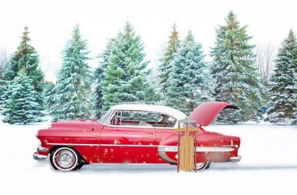 Red Chevrolet Bel Air, Snow, Winter