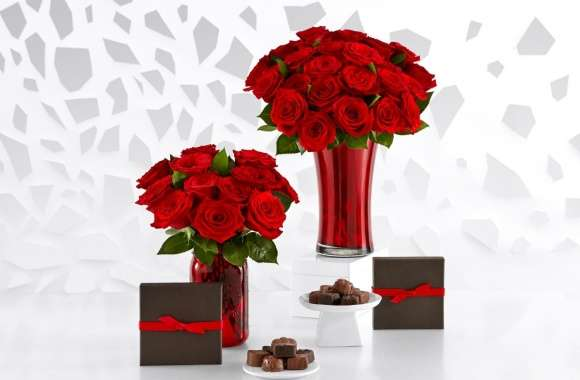 Red Roses Bouquets and Chocolate