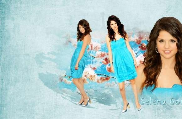 Selena Gomez in Blue Dress wallpapers hd quality