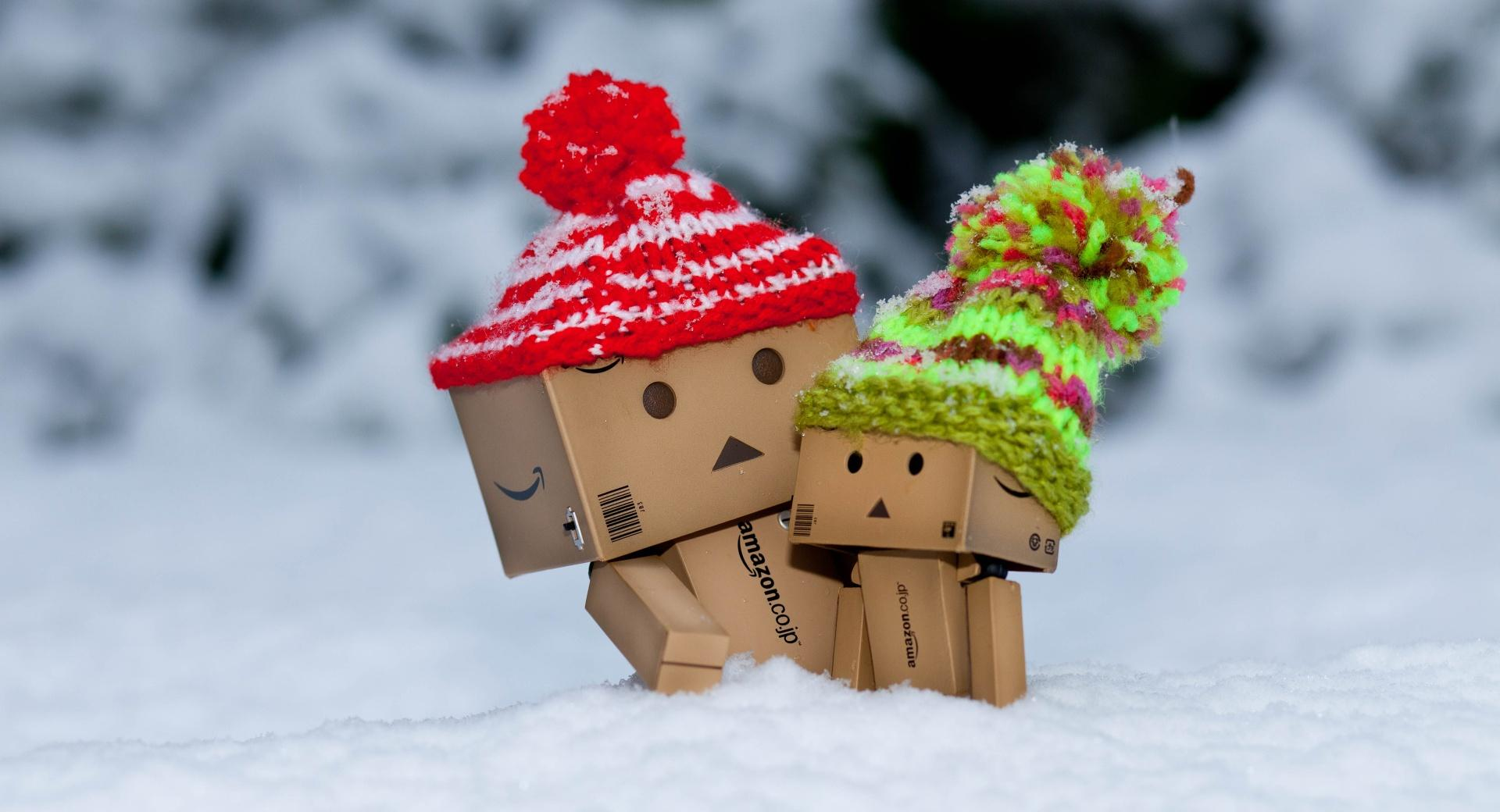 Danbo Is Scared By So Much Snow wallpapers HD quality