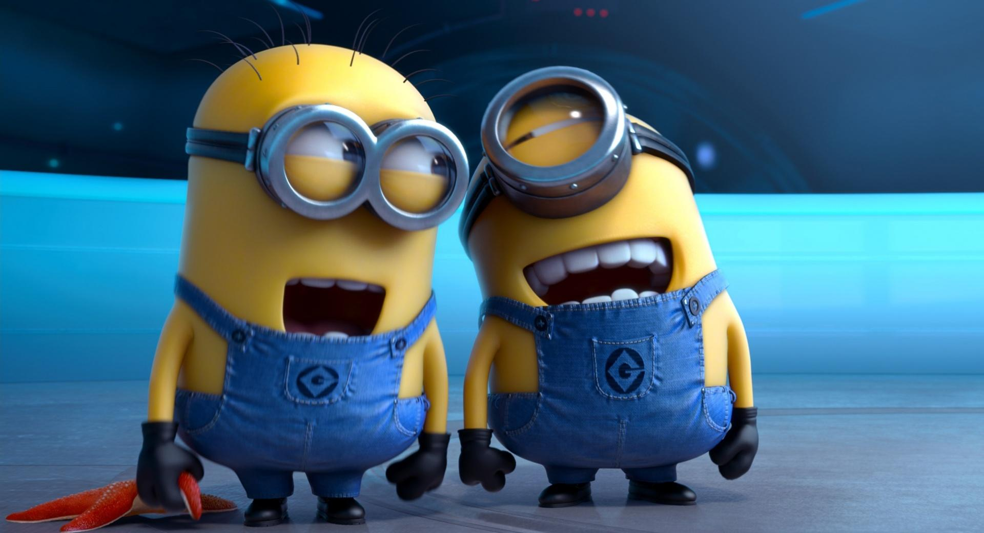 Despicable Me 2 Laughing Minions at 320 x 480 iPhone size wallpapers HD quality
