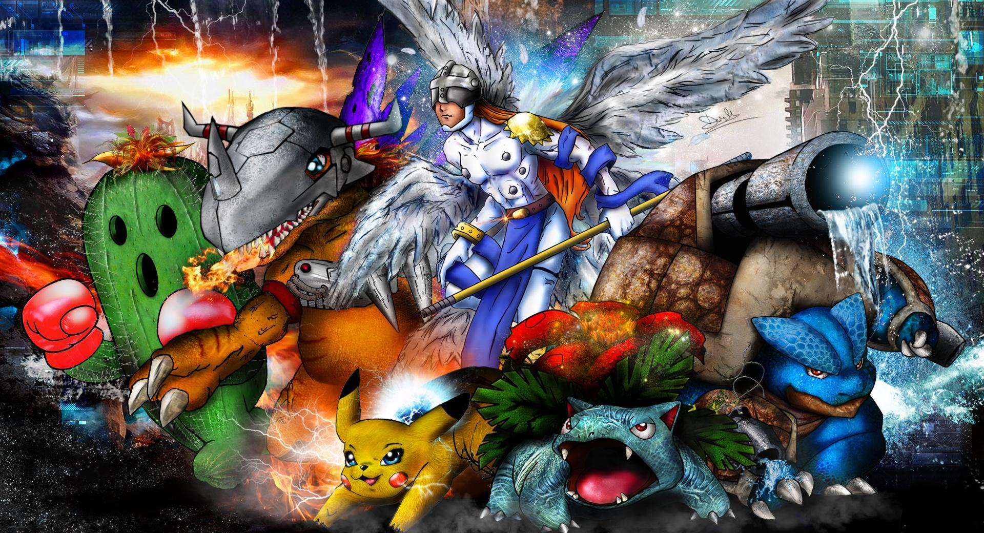 Digimon x Pokemon Mash Up 2014 wallpapers HD quality