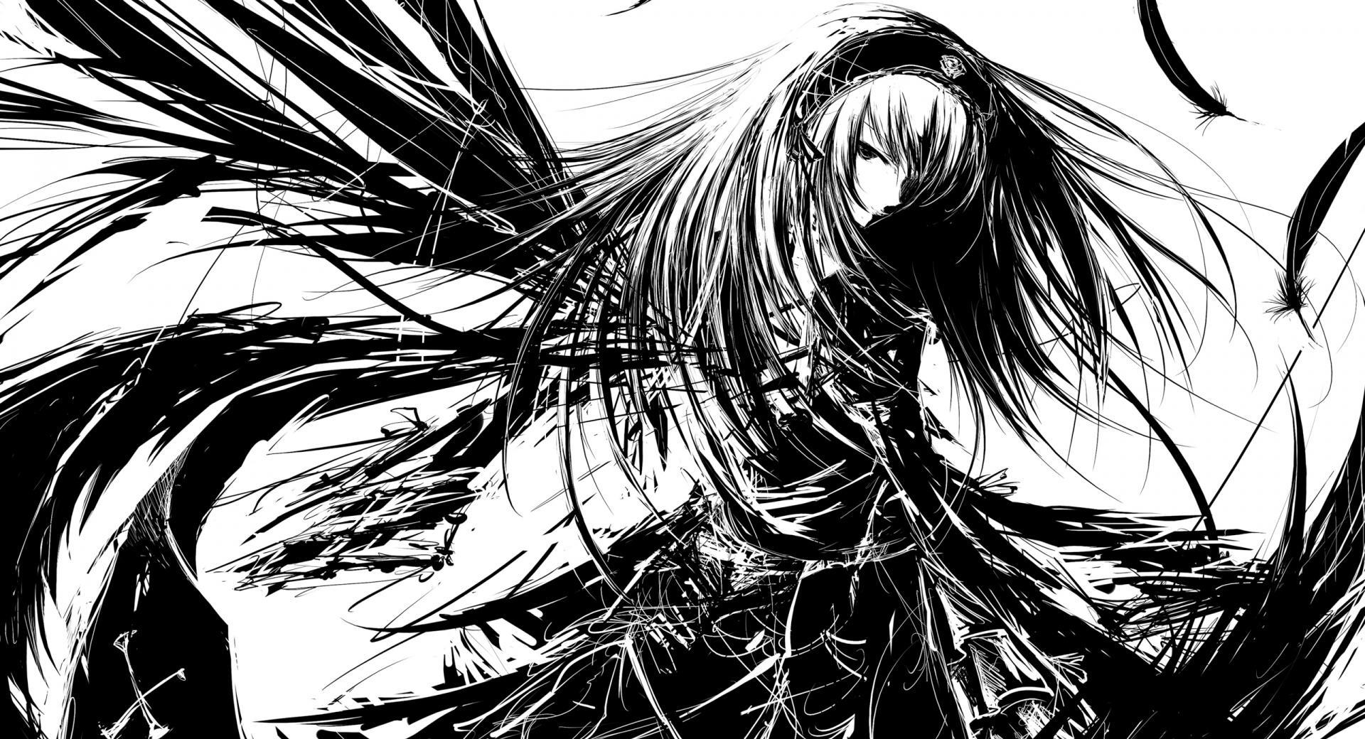 Girl Manga BW wallpapers HD quality