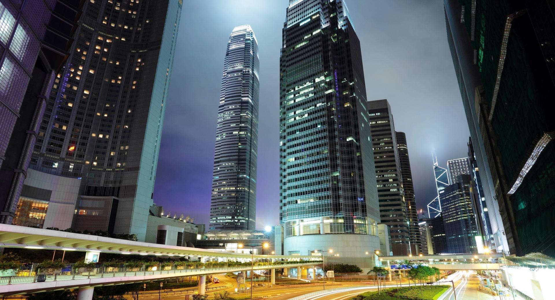 Hong Kong Downtown Night Lights wallpapers HD quality