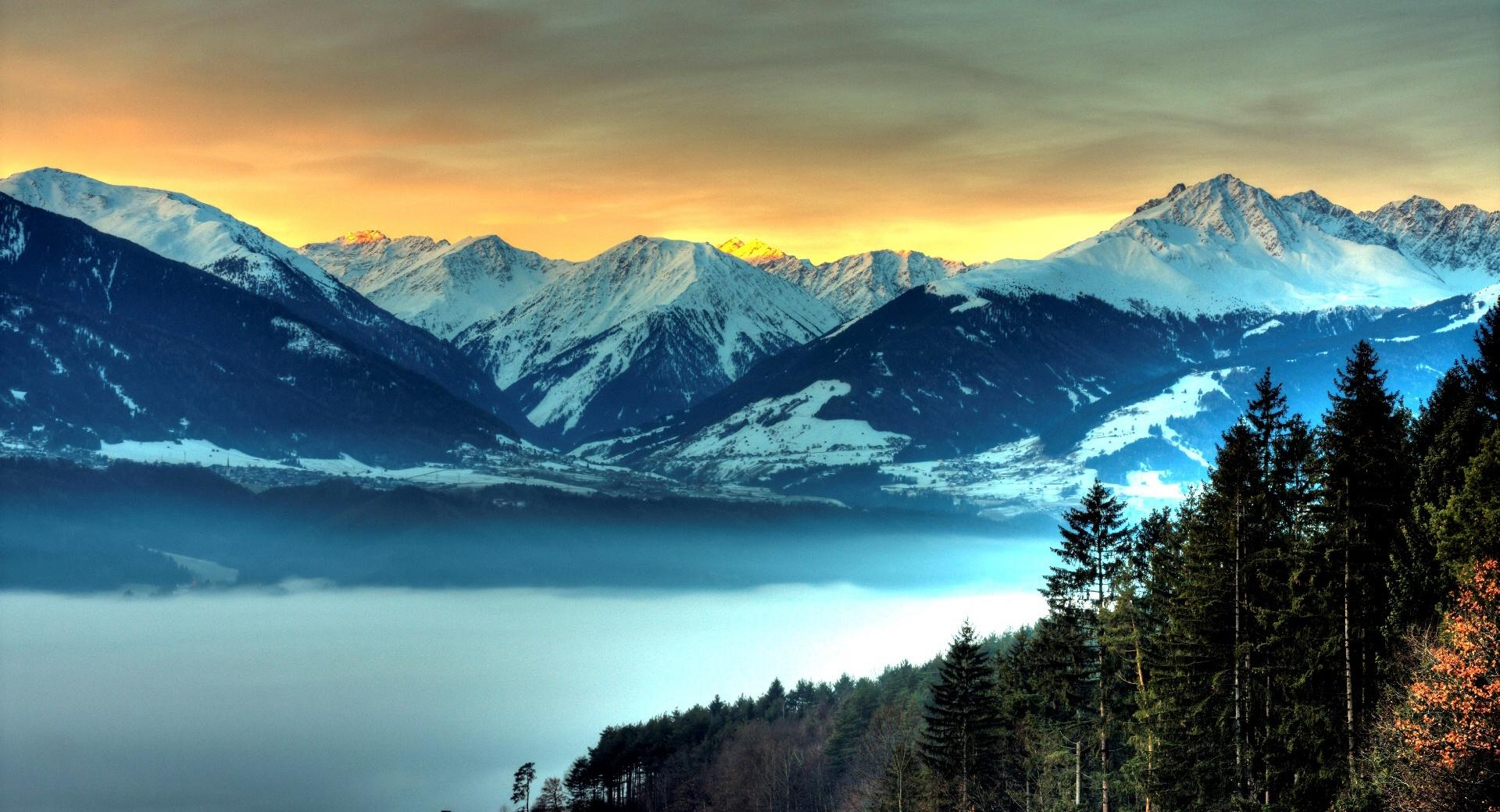 Snowy Mountains And Fog Filled Valley wallpapers HD quality