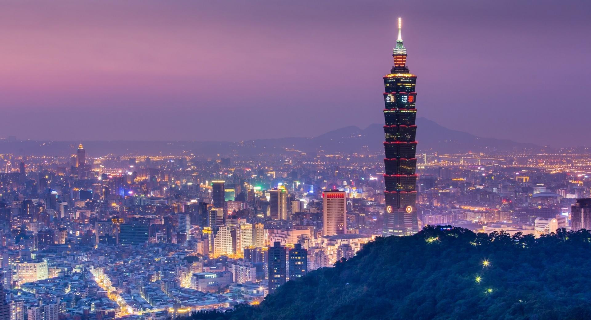 Taipei 101 At Night Panoramic View wallpapers HD quality