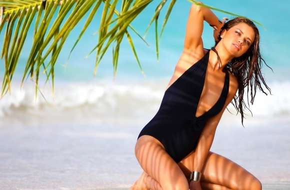 Adriana Lima On The Beach wallpapers hd quality
