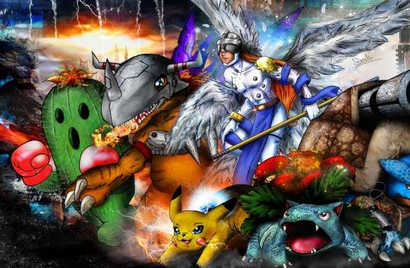 Digimon x Pokemon Mash Up 2014 wallpapers hd quality
