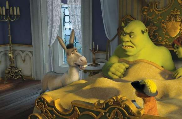 Donkey, Puss in Boots, Shrek and Princess Fiona