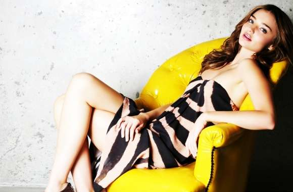 Miranda Kerr In Yellow Chair wallpapers hd quality