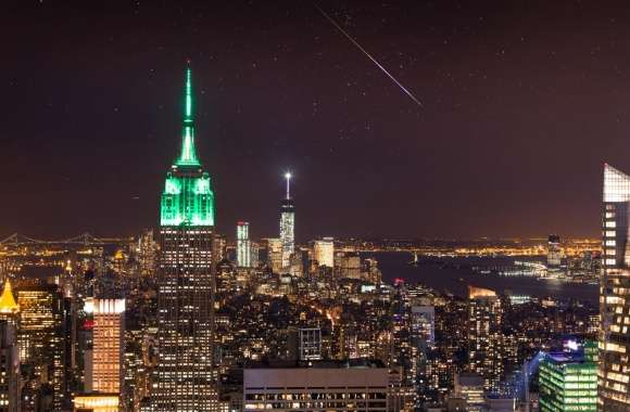 New York City, Night Sky, Shooting Star wallpapers hd quality