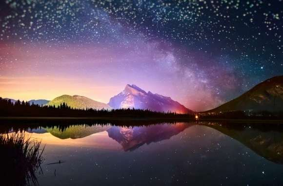 Stars Reflected In A Mountain Lake
