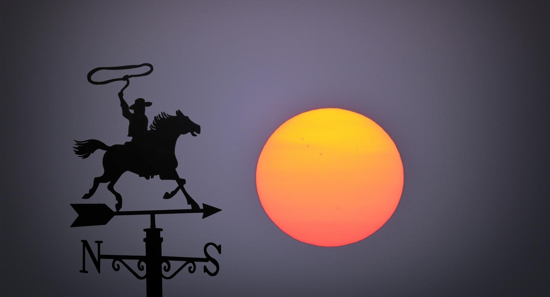 Big Sun Set, Wind Vane wallpapers HD quality