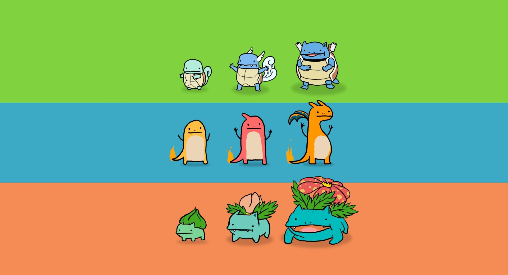 Bulbasaur, Charmander and Squirtle wallpapers HD quality