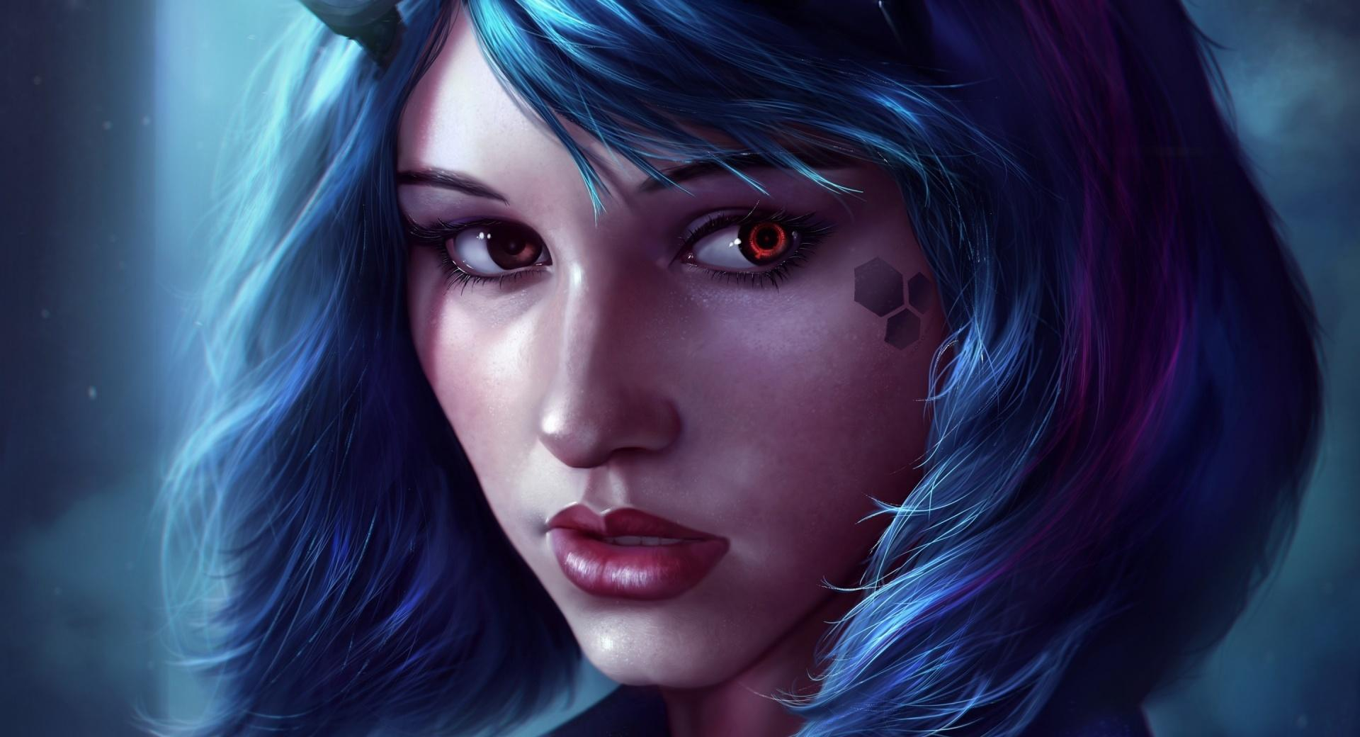 Fantasy Girl Face Blue Hair wallpapers HD quality