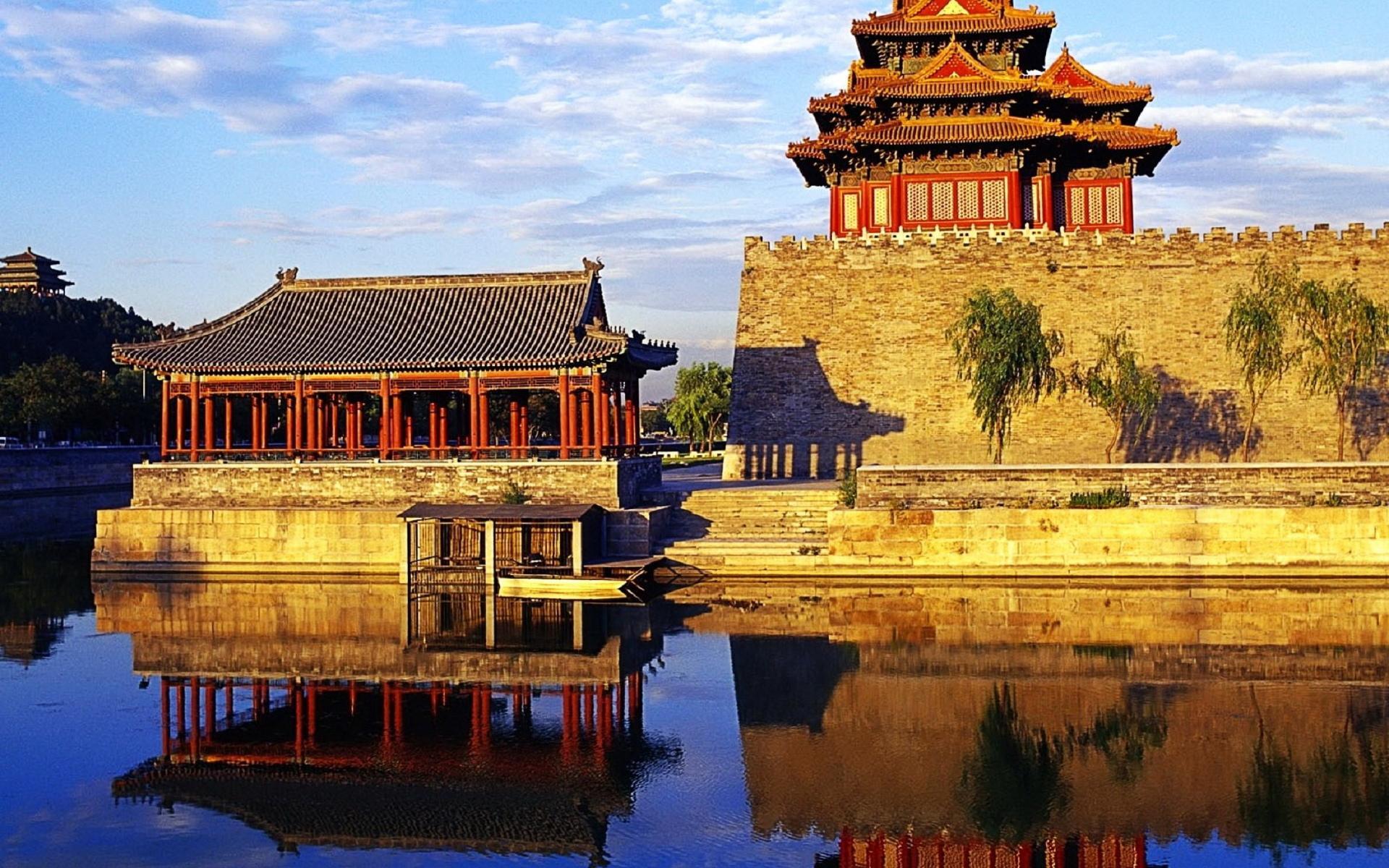 архитектура Китай озеро небо без смс