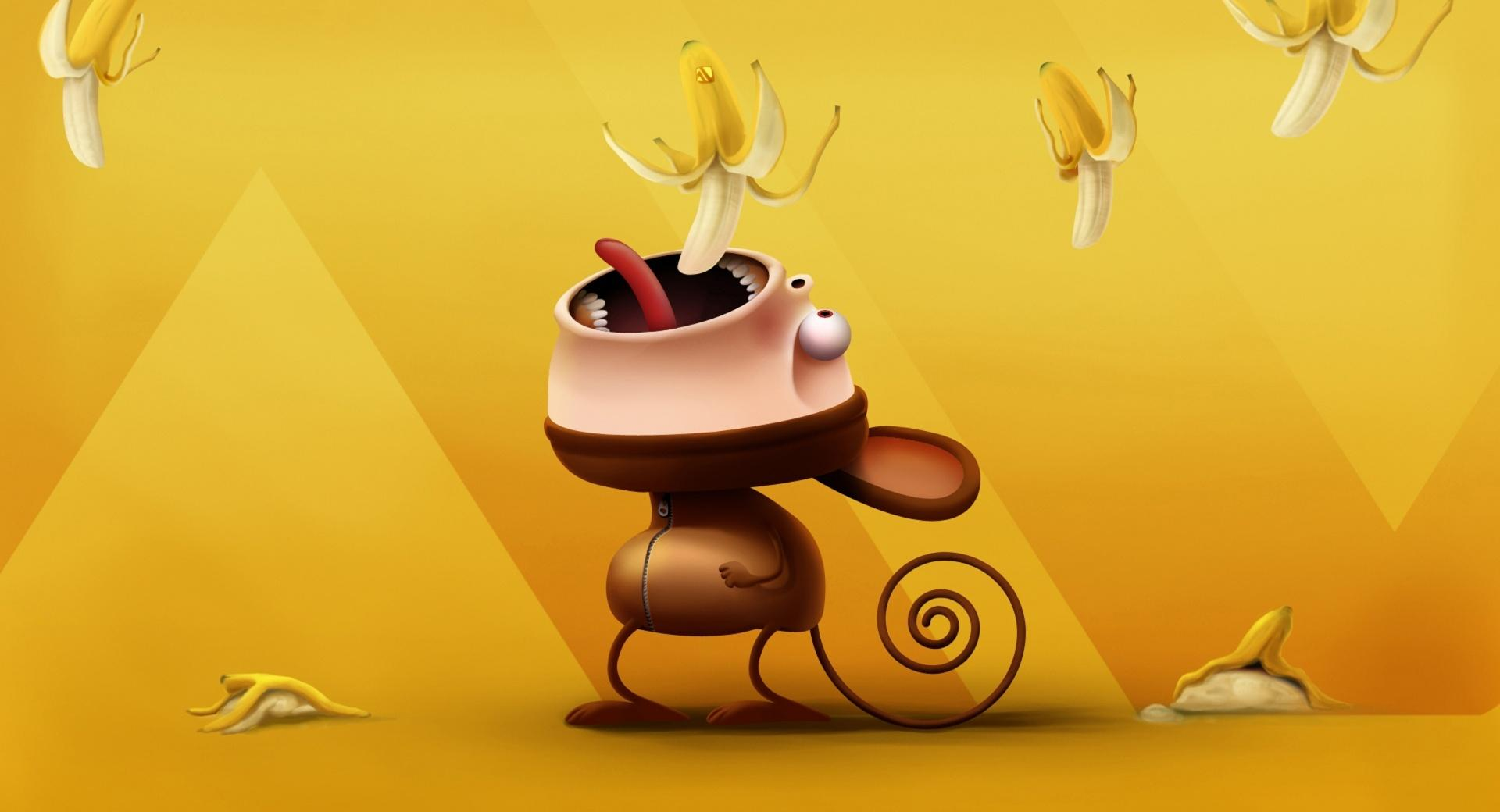 Funny Monkey Eating Bananas wallpapers HD quality