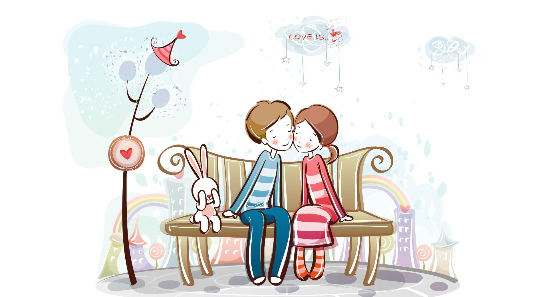 Sweet Couple On Bench wallpapers HD quality