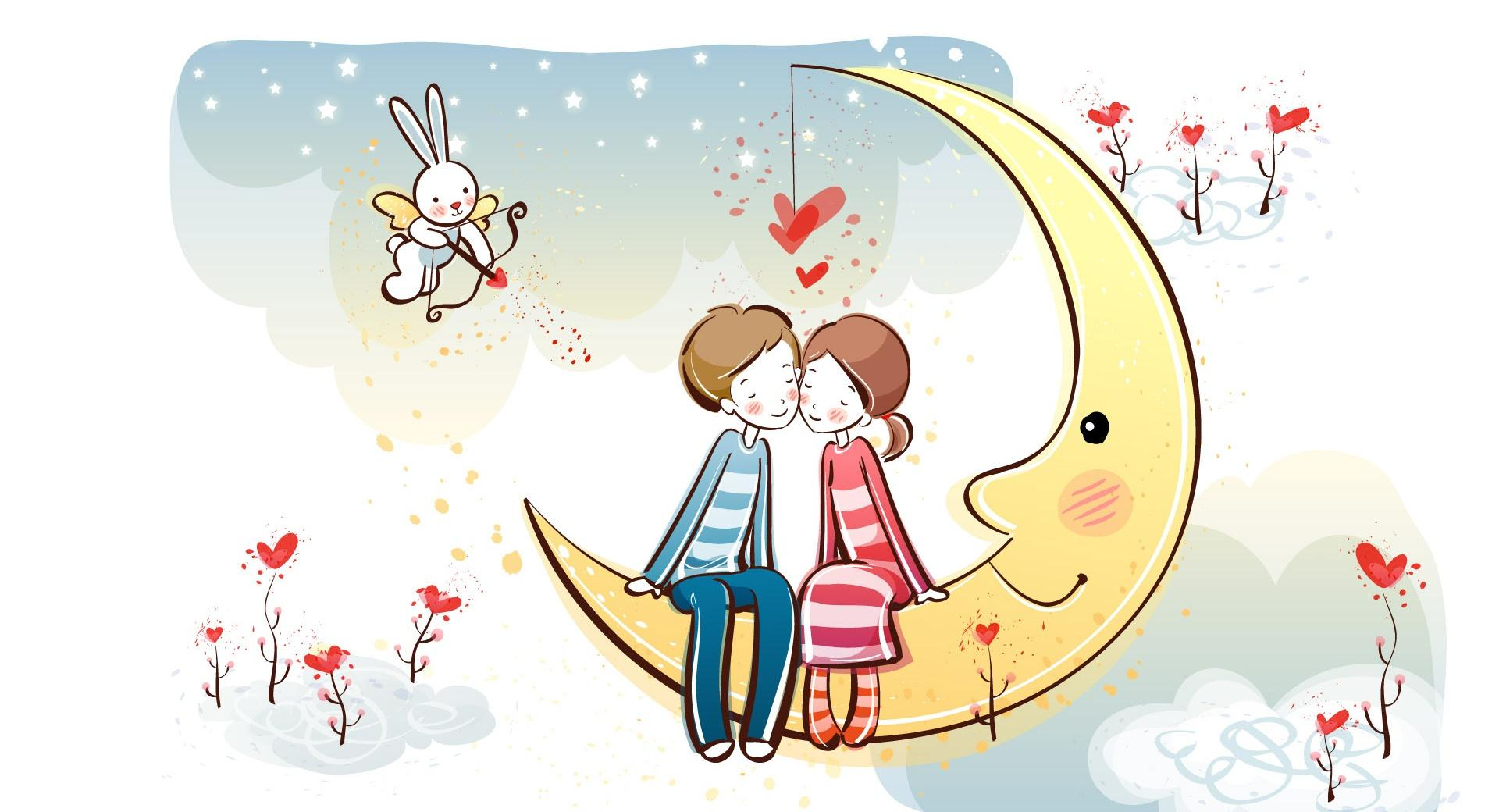 Sweet Couple On Moon wallpapers HD quality