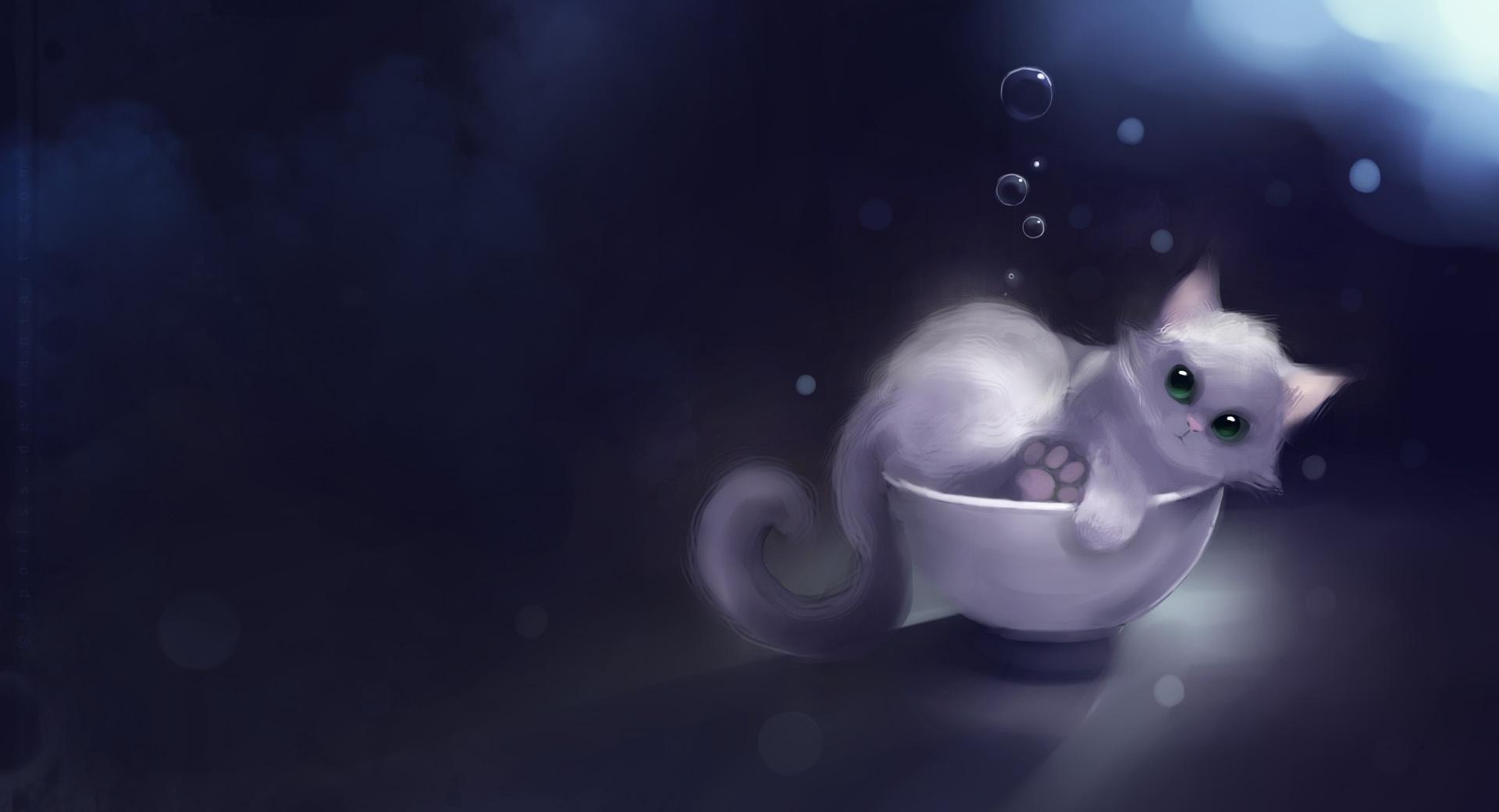 White Kitty In A Bowl Painting wallpapers HD quality