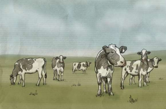 Cows Drawing wallpapers hd quality
