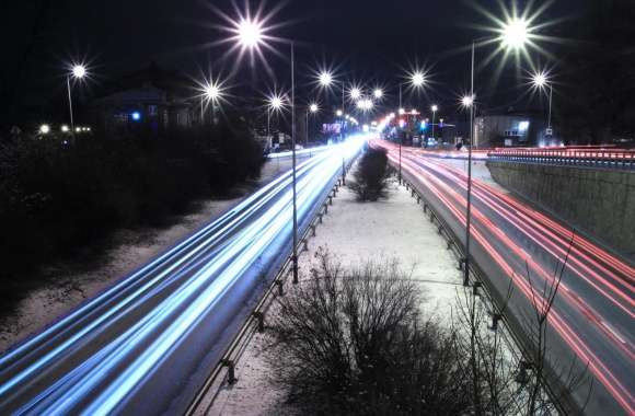 Long Exposure Night Road wallpapers hd quality