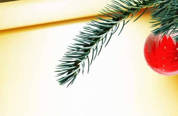 Red Christmas Ball Hanging On Tree Branch