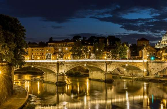 Rom Petersdom Tiber by night wallpapers hd quality