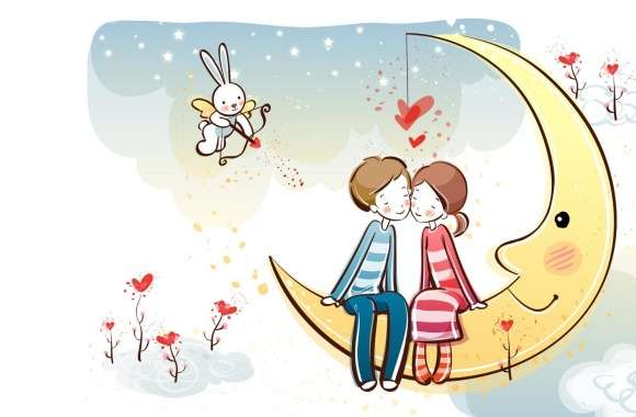 Sweet Couple On Moon