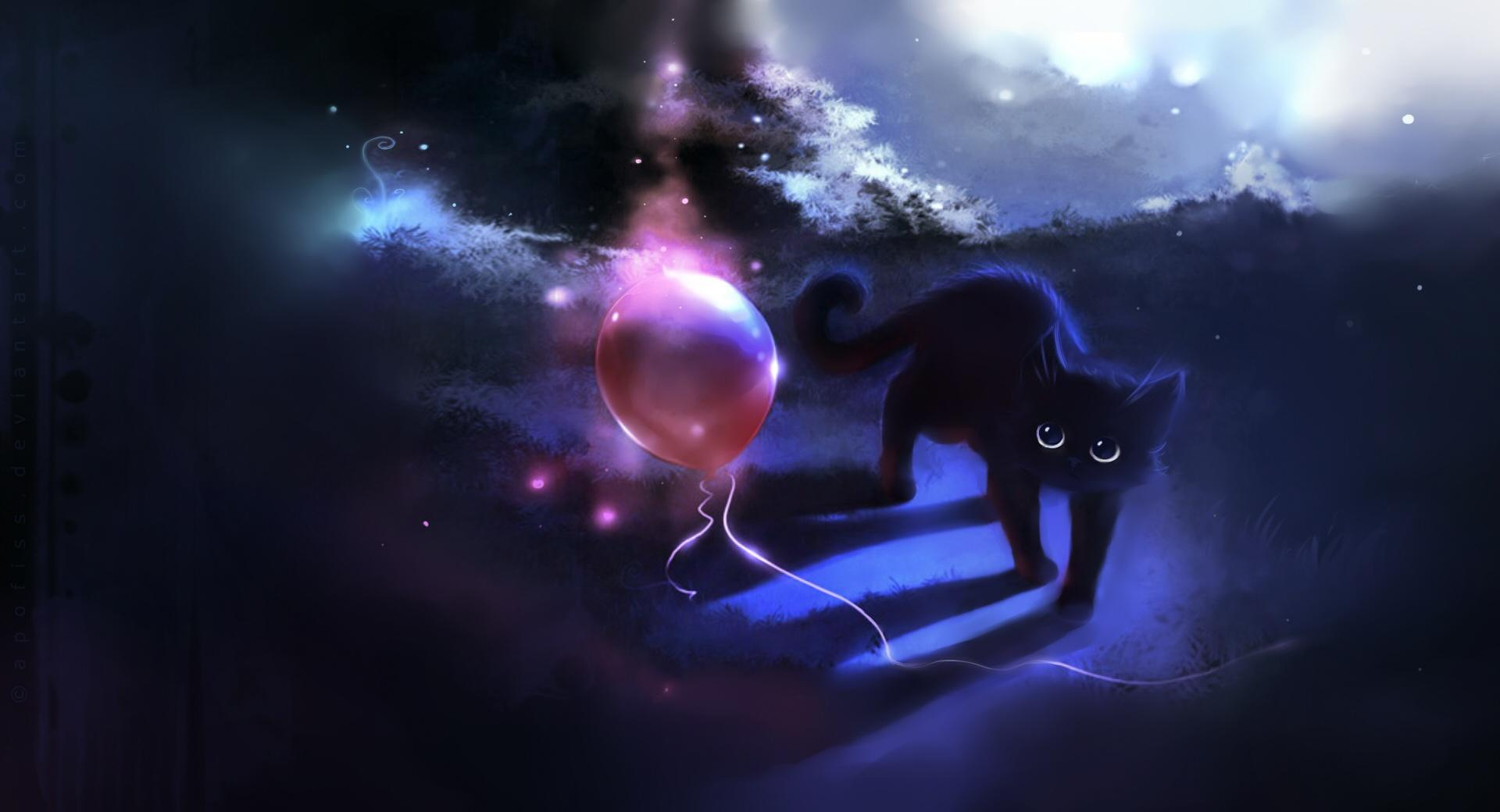 Black Kitty And A Red Balloon wallpapers HD quality