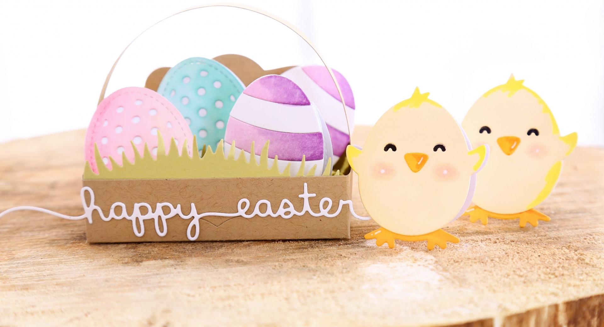 Easter Eggs in a Basket, Chicks, 2017 wallpapers HD quality