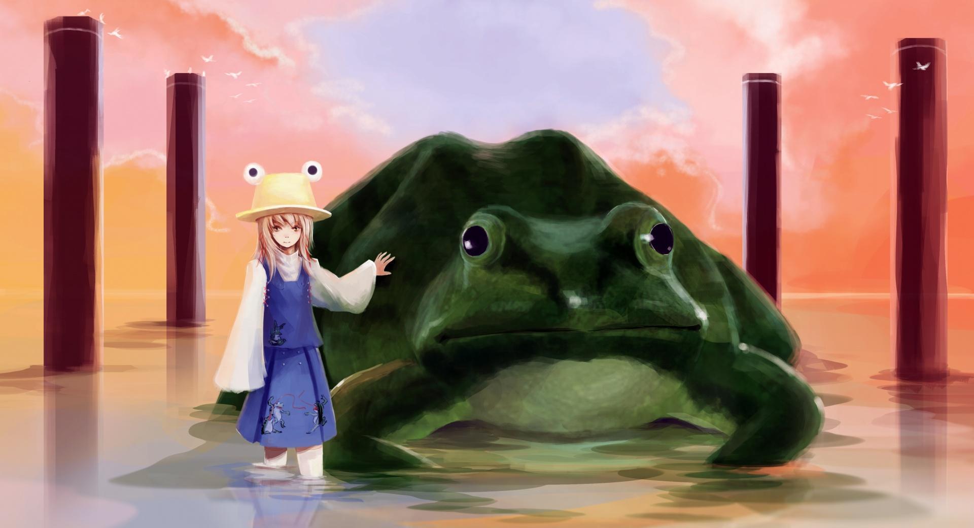 Girl And Big Frog wallpapers HD quality