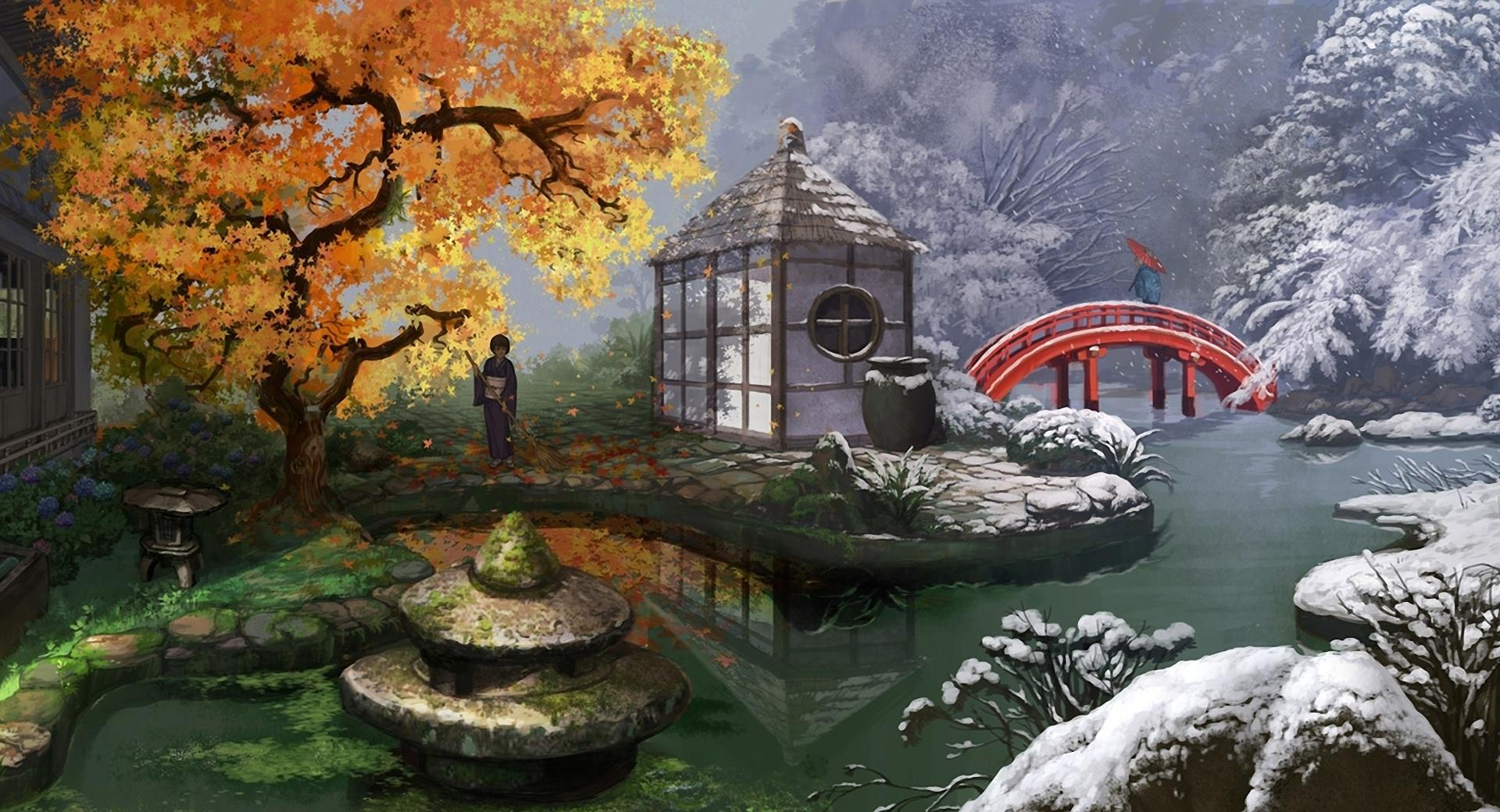Japanese Garden Painting wallpapers HD quality