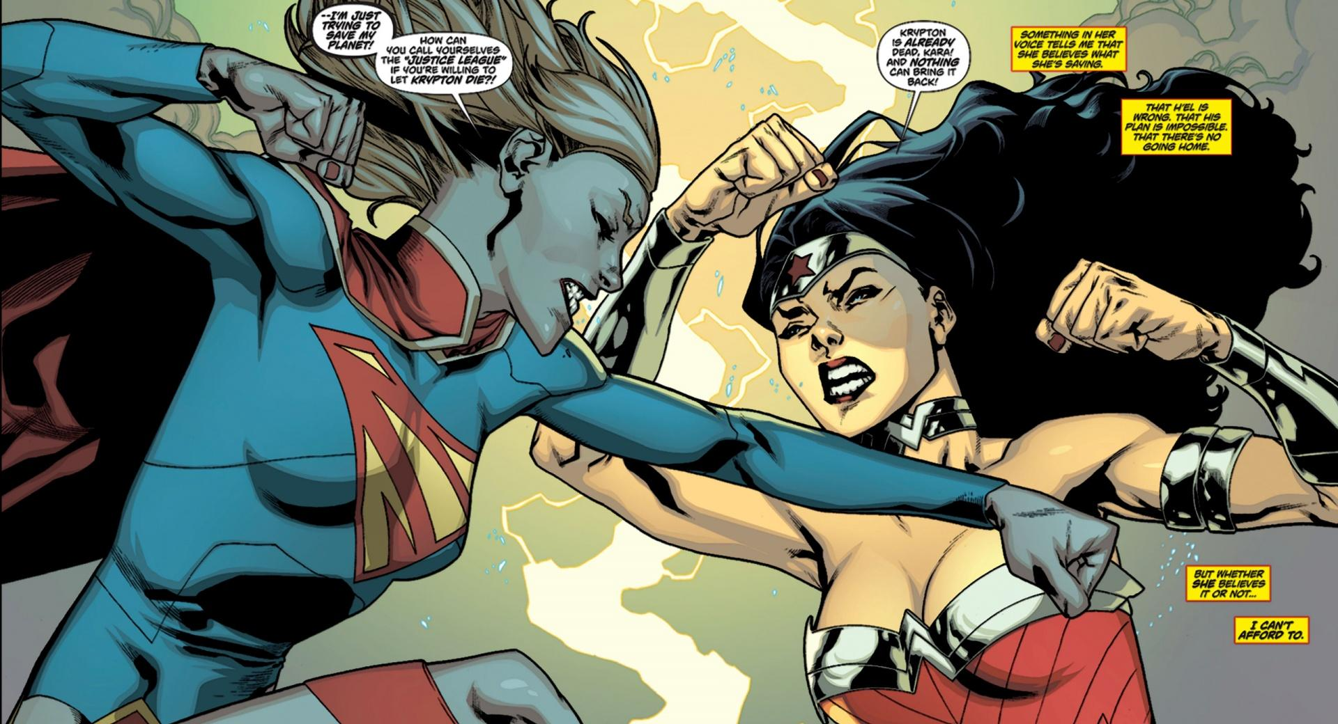 Supergirl Wonder Woman Fight wallpapers HD quality