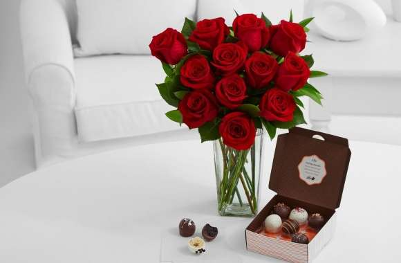 Cake Truffles and Red Roses Bouquet