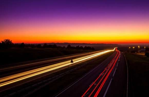 Highway Light Trails wallpapers hd quality