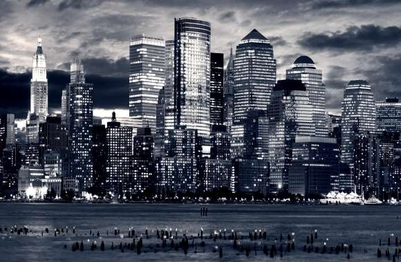 Manhattan Panorama In Black And White wallpapers hd quality