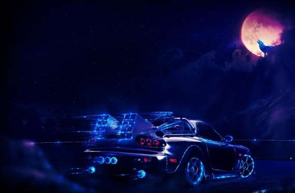 Neon Car Going To The Moon Wolf