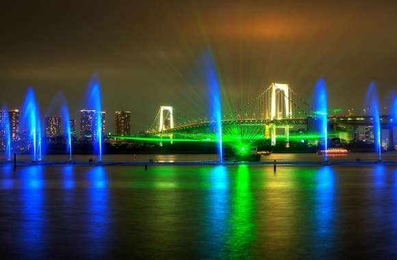 Rainbow Bridge Light Show in Tokyo wallpapers hd quality