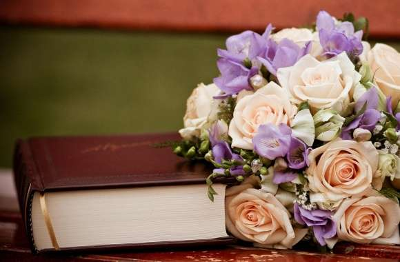 Roses Bouquet And A Book