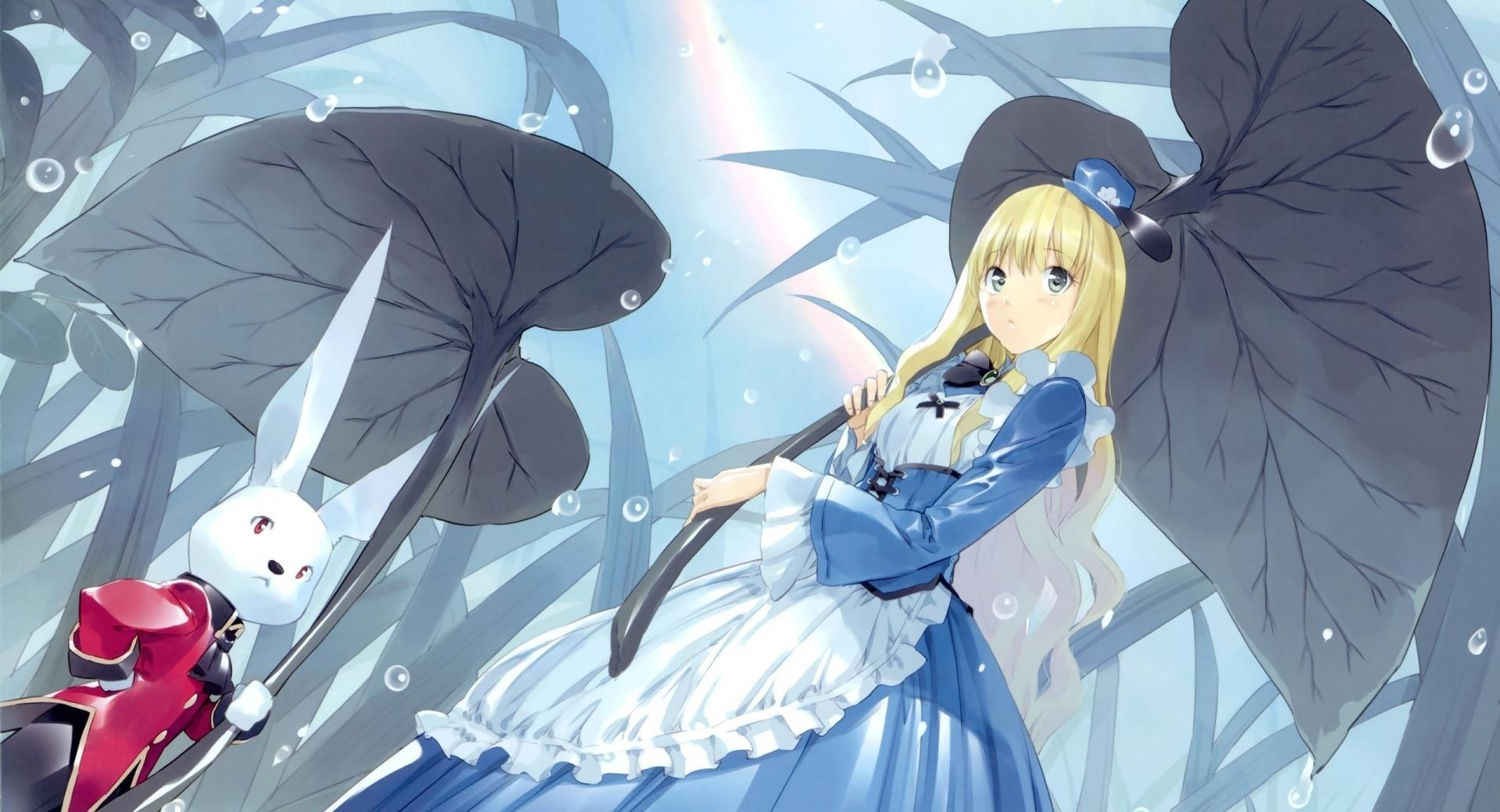 Alice In Wonderland And The White Rabbit Anime wallpapers HD quality